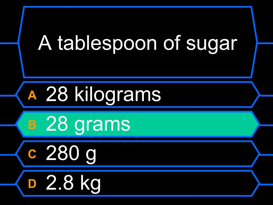 A tablespoon of sugar A 28 kilograms B 28 grams C 280 g D 2.8 kg