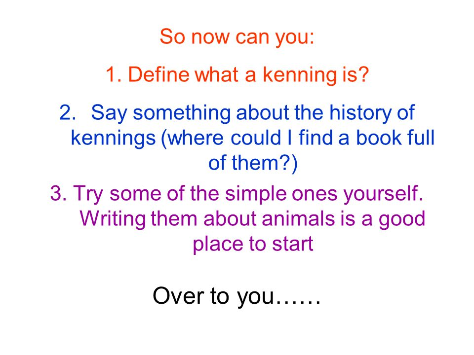 1. Define what a kenning is