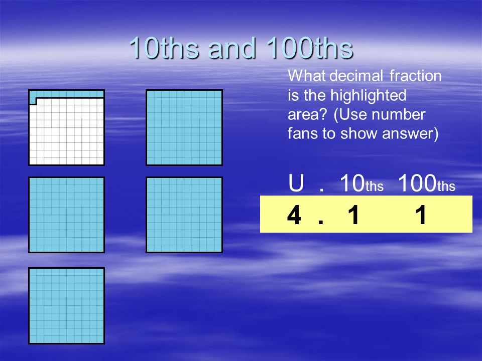 10ths and 100ths What decimal fraction is the highlighted area (Use number fans to show answer) U . 10ths 100ths.