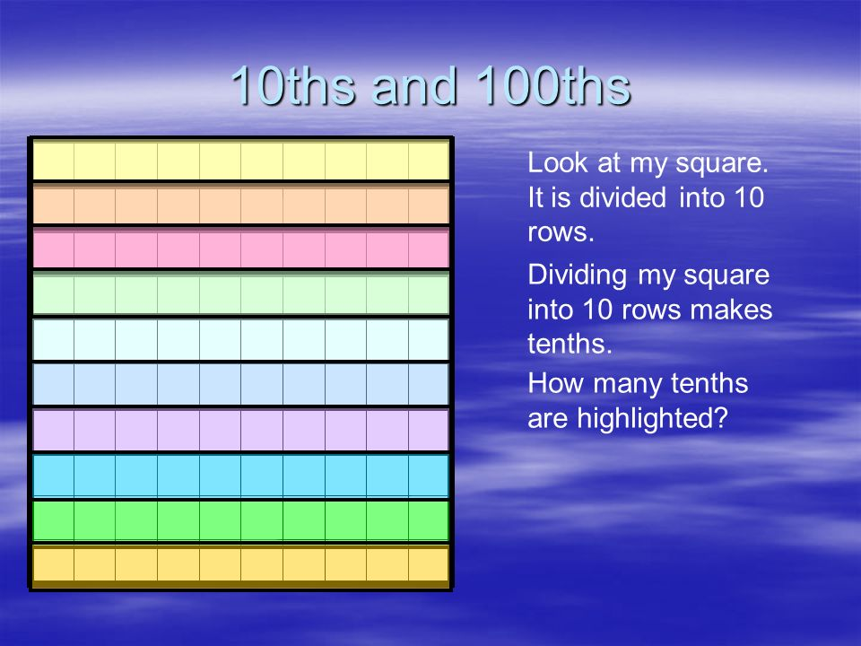 10ths and 100ths Look at my square. It is divided into 10 rows.