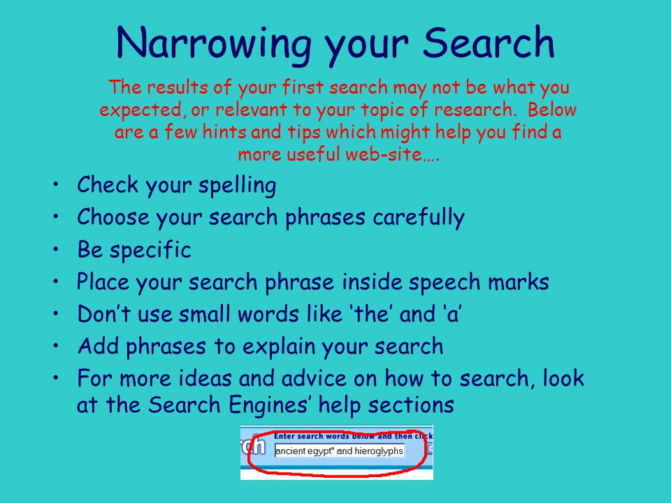 Narrowing your Search Check your spelling