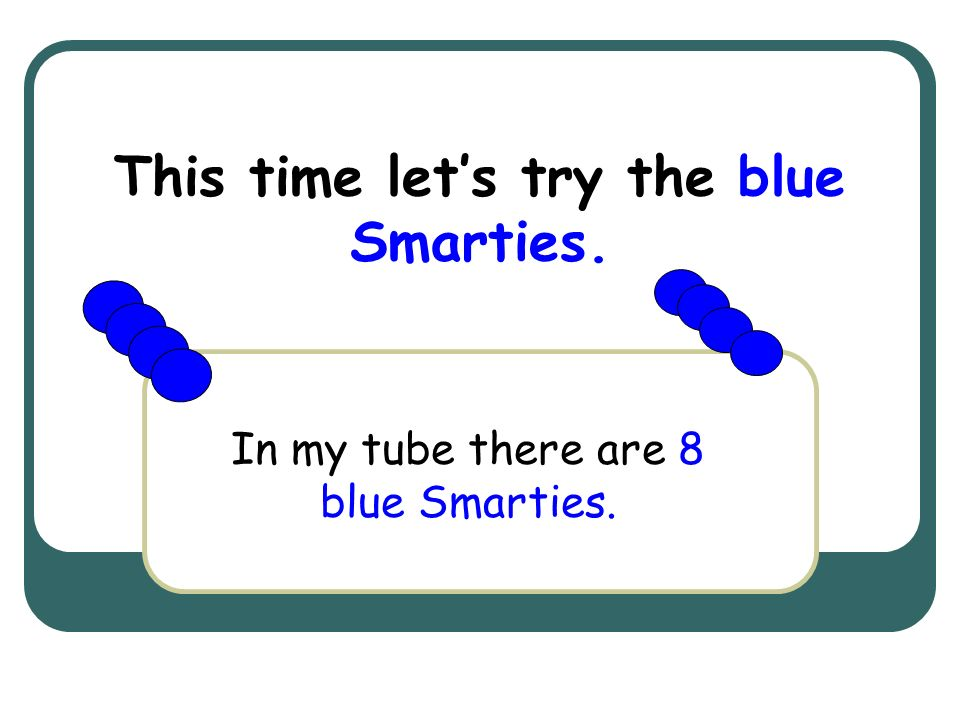 This time let's try the blue Smarties.
