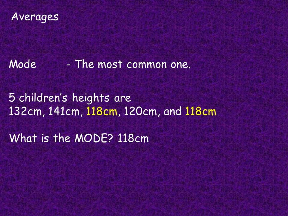 Averages Mode - The most common one. 5 children's heights are. 132cm, 141cm, 118cm, 120cm, and 118cm.
