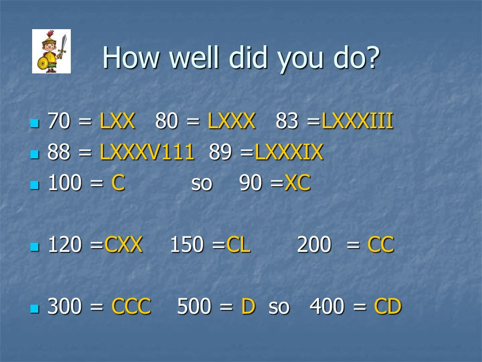 How well did you do 70 = LXX 80 = LXXX 83 =LXXXIII
