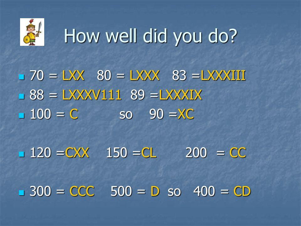How well did you do 70 = LXX 80 = LXXX 83 =LXXXIII