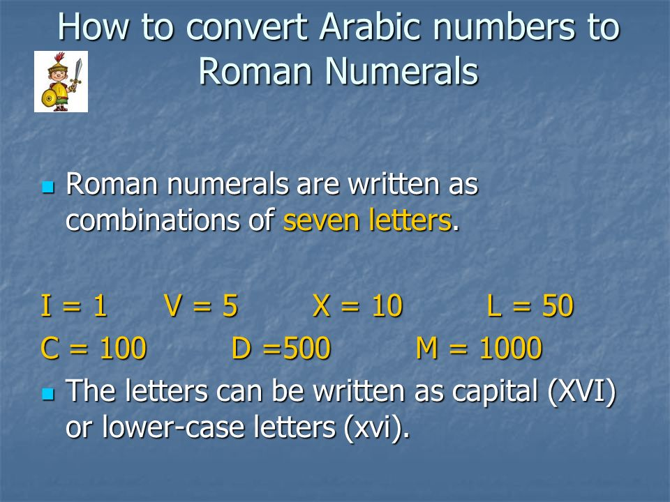 How to convert Arabic numbers to Roman Numerals