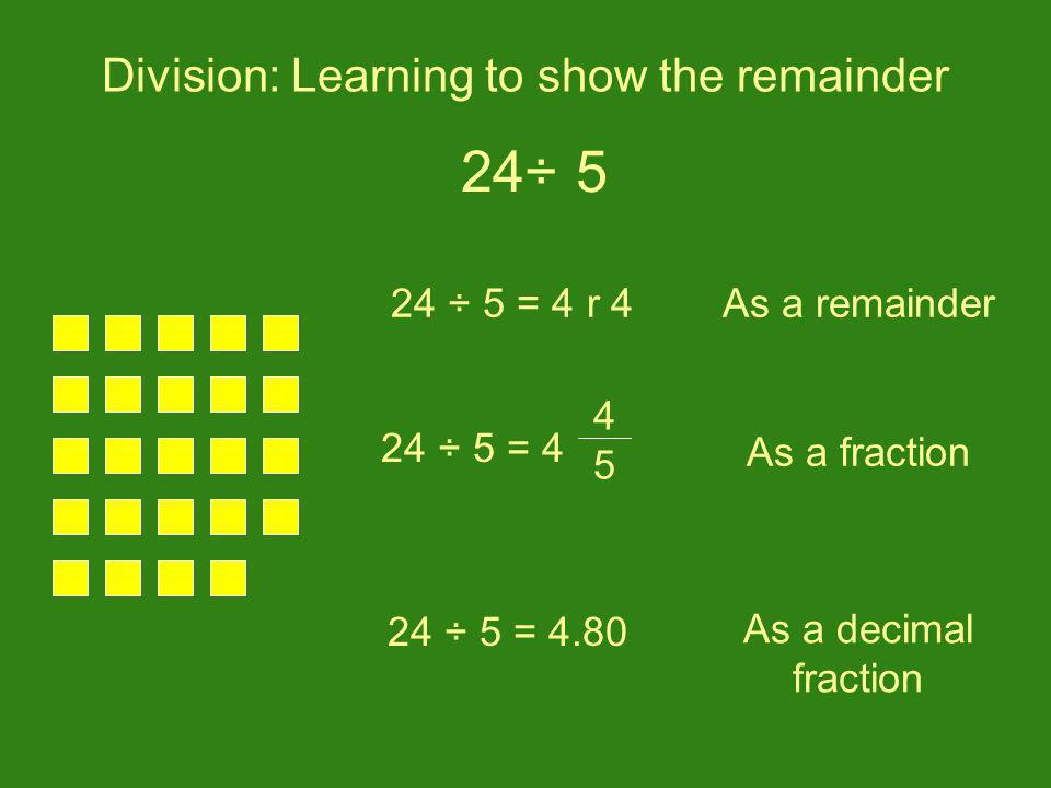 Division: Learning to show the remainder