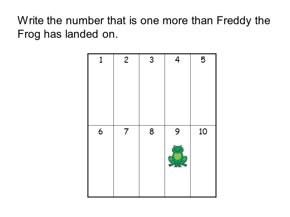 Write the number that is one more than Freddy the Frog has landed on.