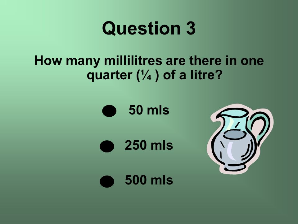 How many millilitres are there in one quarter (¼ ) of a litre