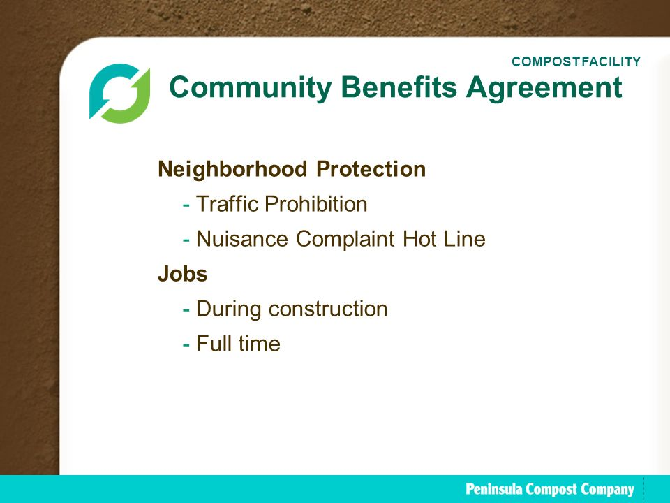 The peninsula compost group ppt download community benefits agreement platinumwayz
