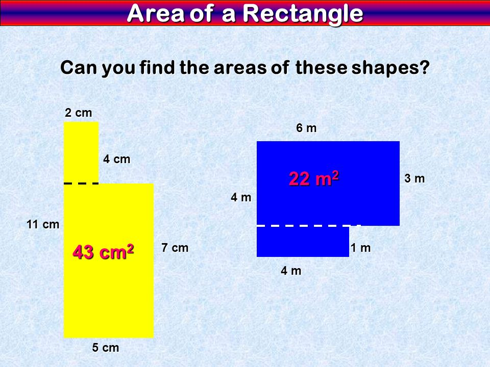 Can you find the areas of these shapes
