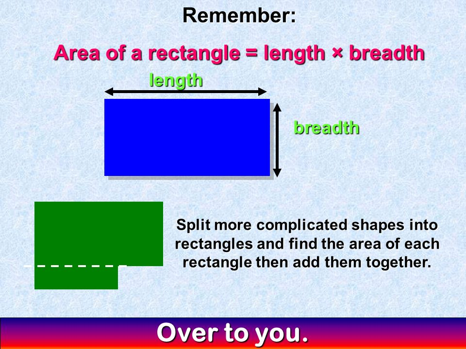 Area of a rectangle = length × breadth