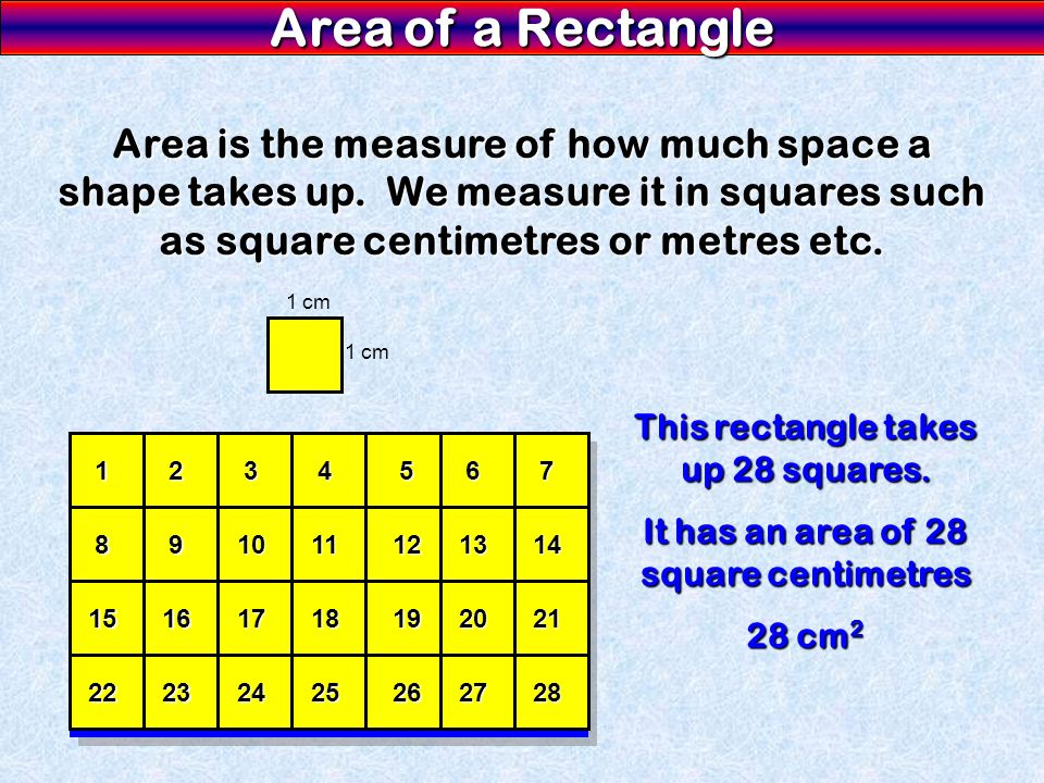 Area is the measure of how much space a shape takes up