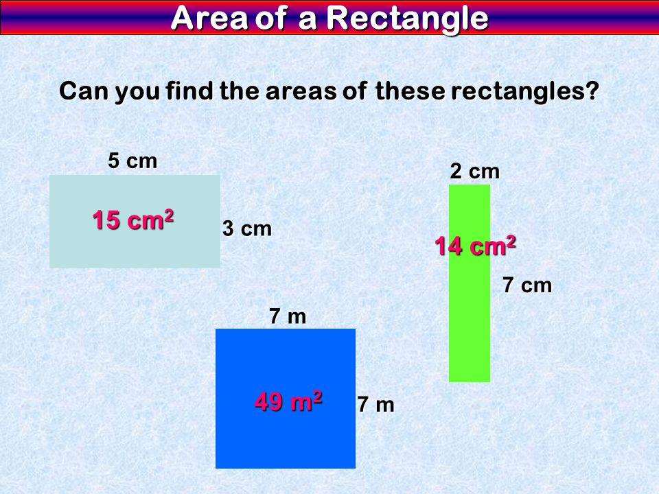 Can you find the areas of these rectangles