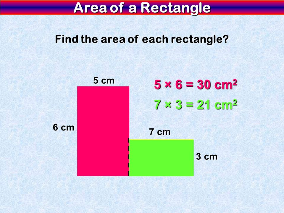 Find the area of each rectangle