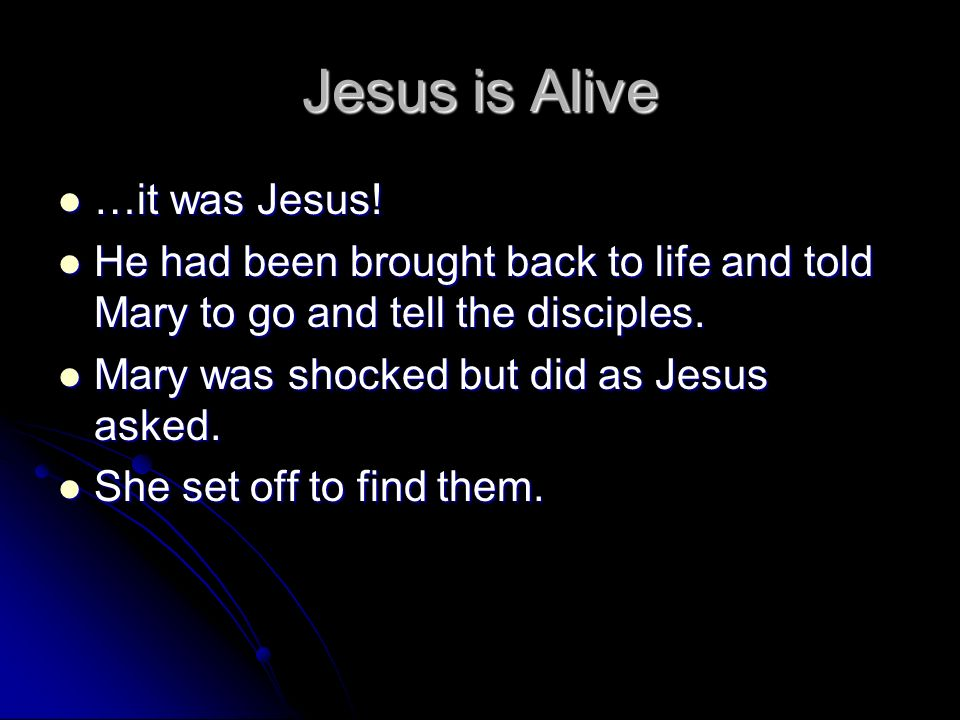 Jesus is Alive …it was Jesus!