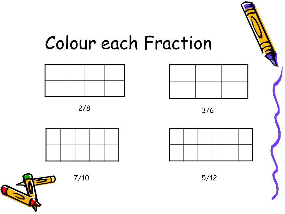 Colour each Fraction 2/8 3/6 7/10 5/12