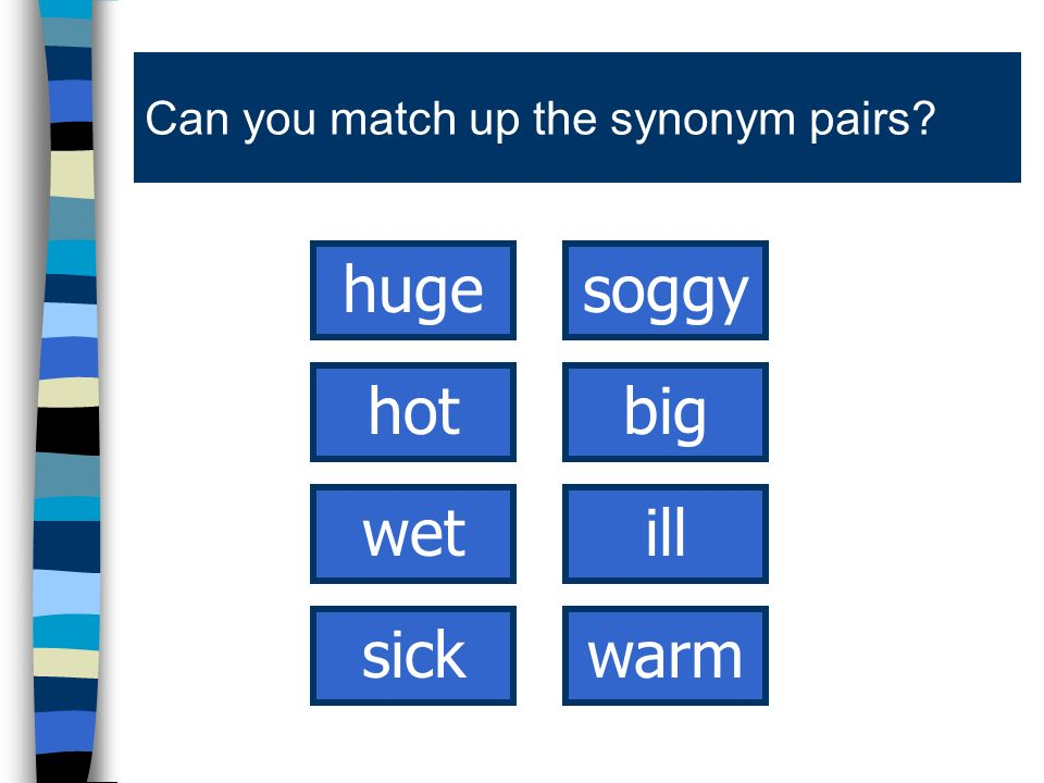 Can you match up the synonym pairs