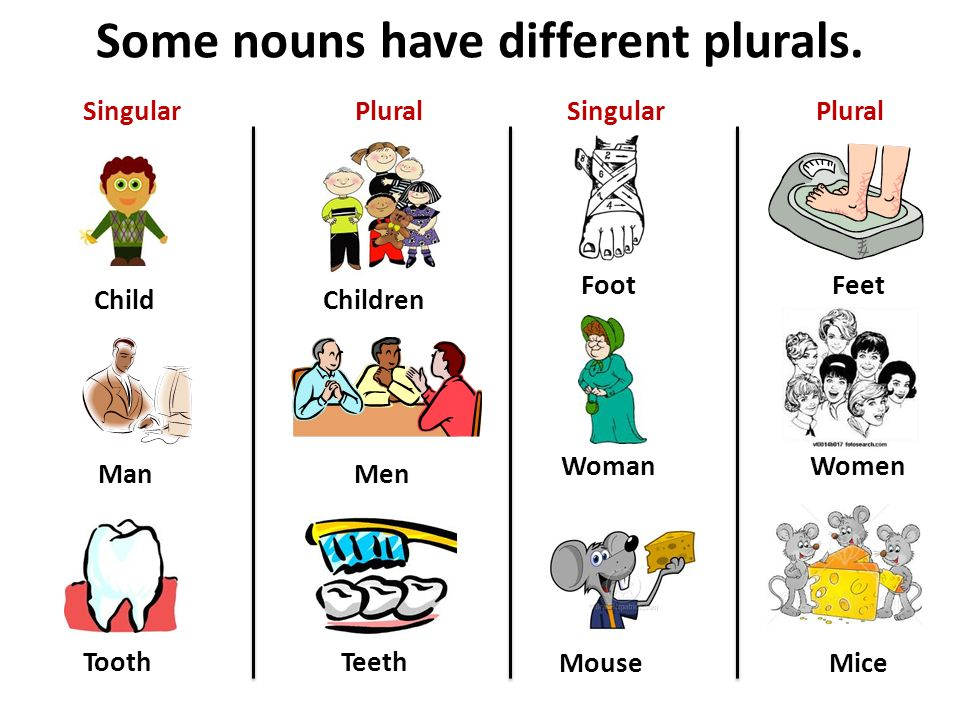 Some nouns have different plurals.