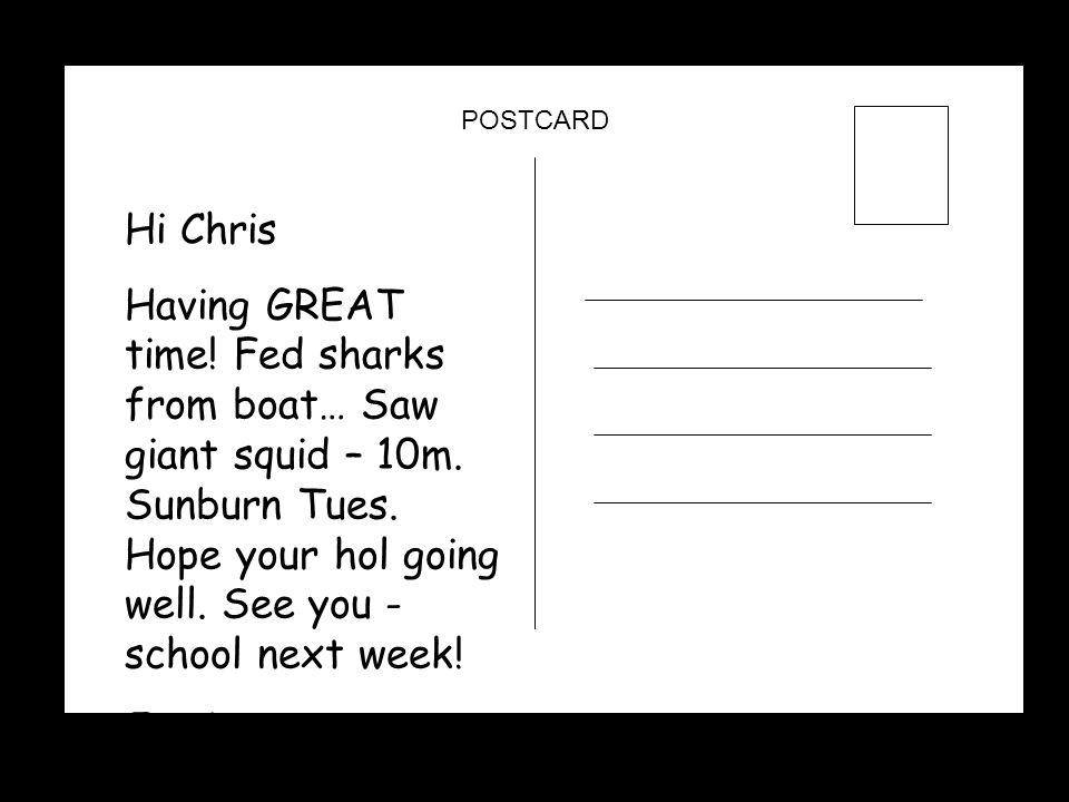 POSTCARD Hi Chris.