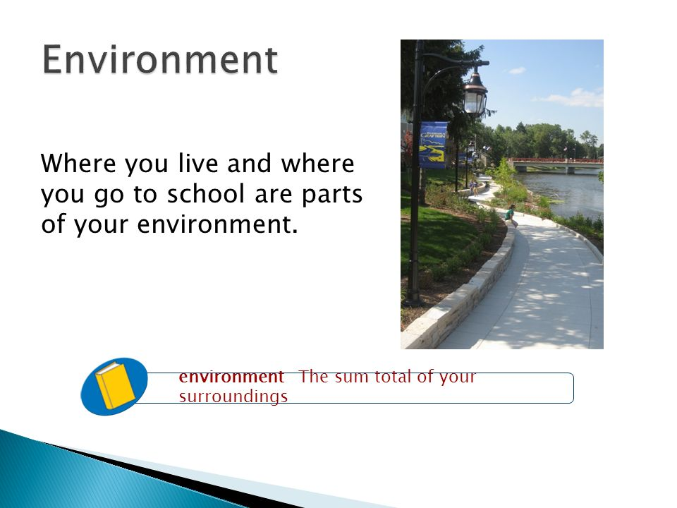 Environment Where you live and where you go to school are parts of your environment.