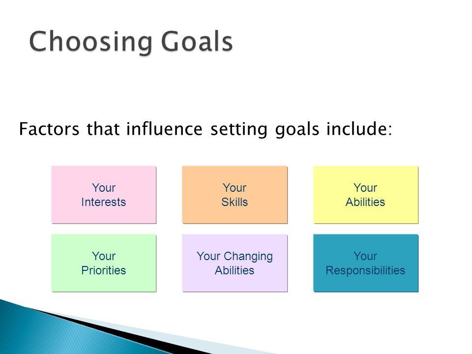 Choosing Goals Factors that influence setting goals include: