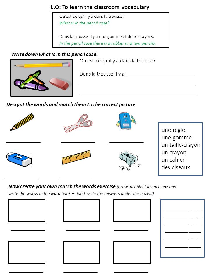 L.O: To learn the classroom vocabulary