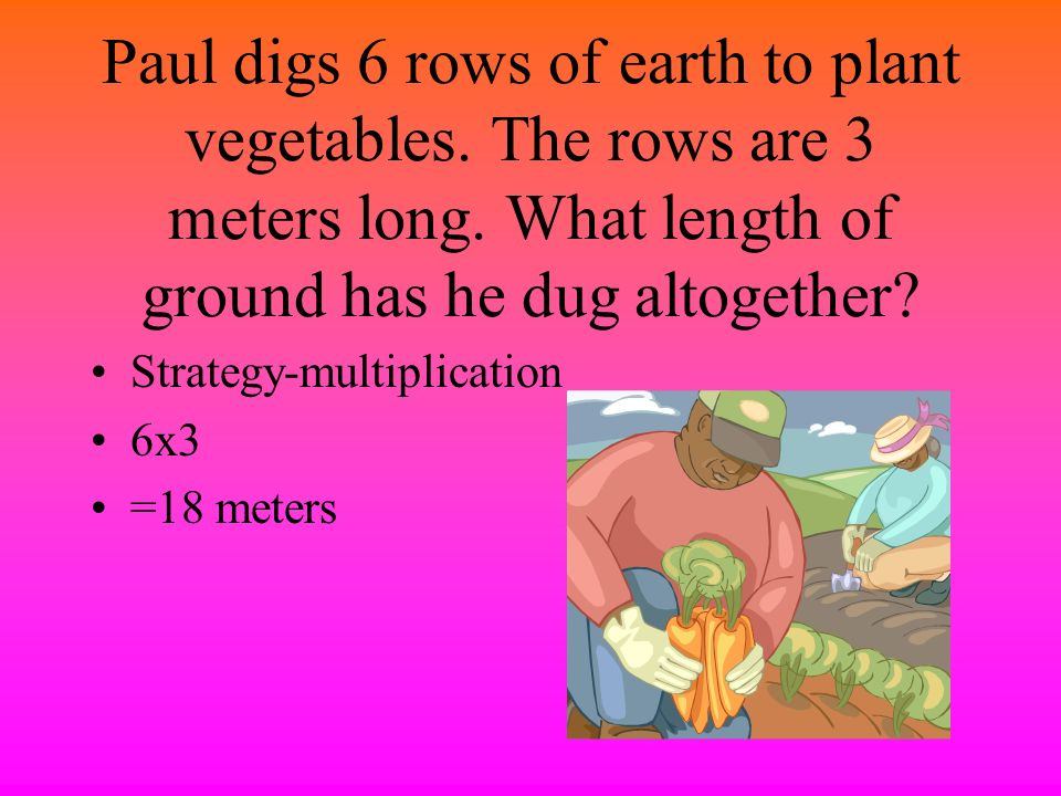 Paul digs 6 rows of earth to plant vegetables
