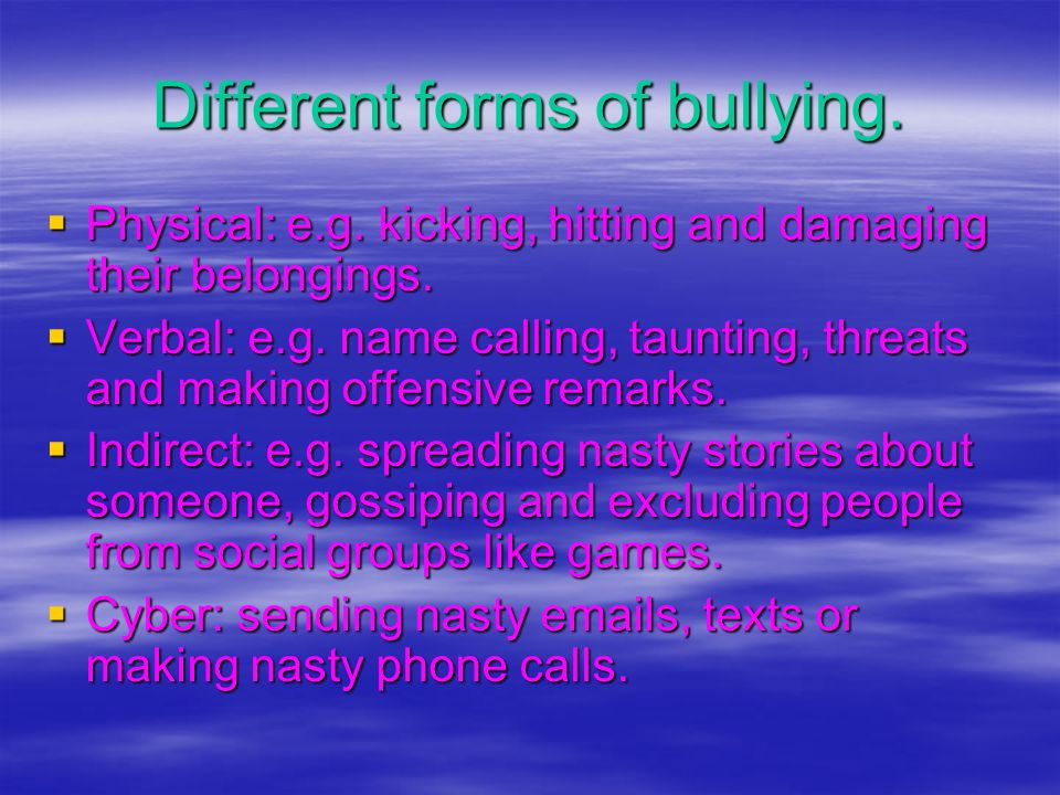 Different forms of bullying.