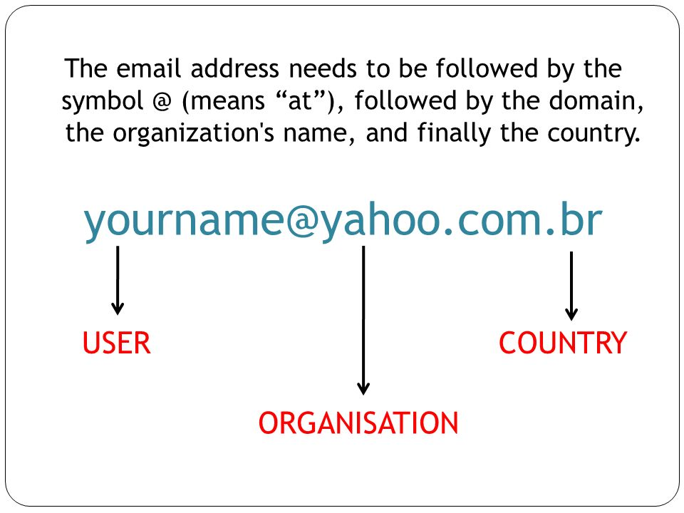 yourname@yahoo.com.br USER COUNTRY ORGANISATION