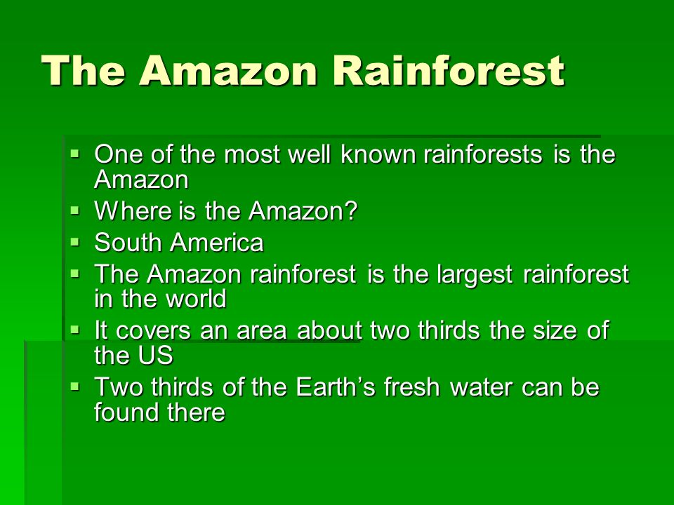 The Amazon Rainforest One of the most well known rainforests is the Amazon. Where is the Amazon South America.