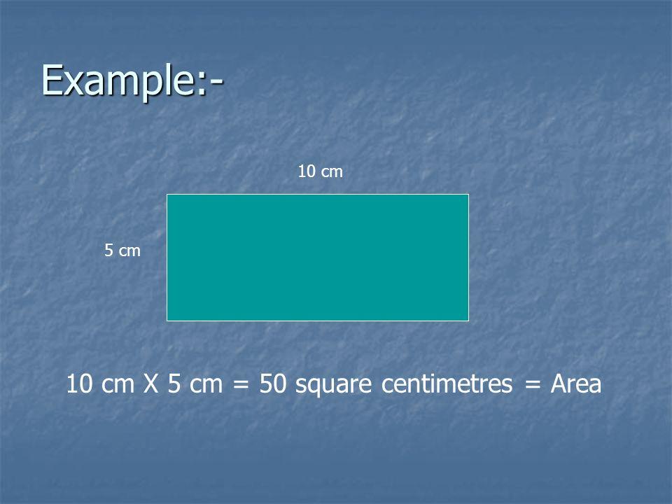 10 cm X 5 cm = 50 square centimetres = Area