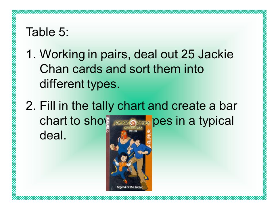 Table 5: Working in pairs, deal out 25 Jackie Chan cards and sort them into different types.