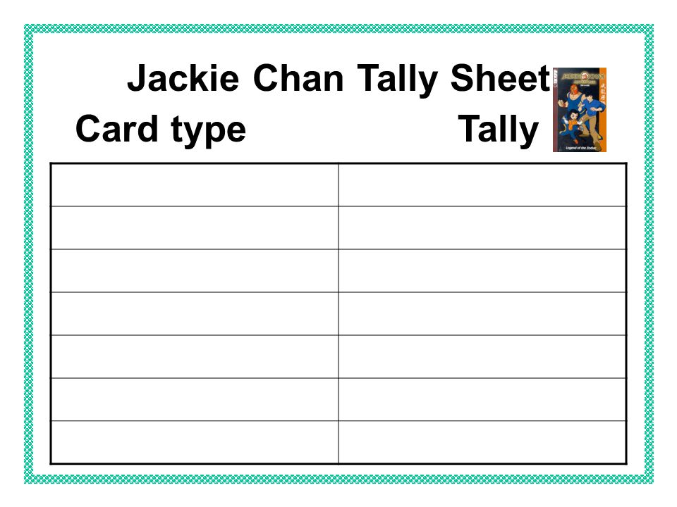 Jackie Chan Tally Sheet