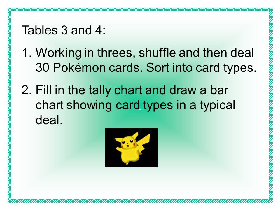 Tables 3 and 4: Working in threes, shuffle and then deal 30 Pokémon cards. Sort into card types.