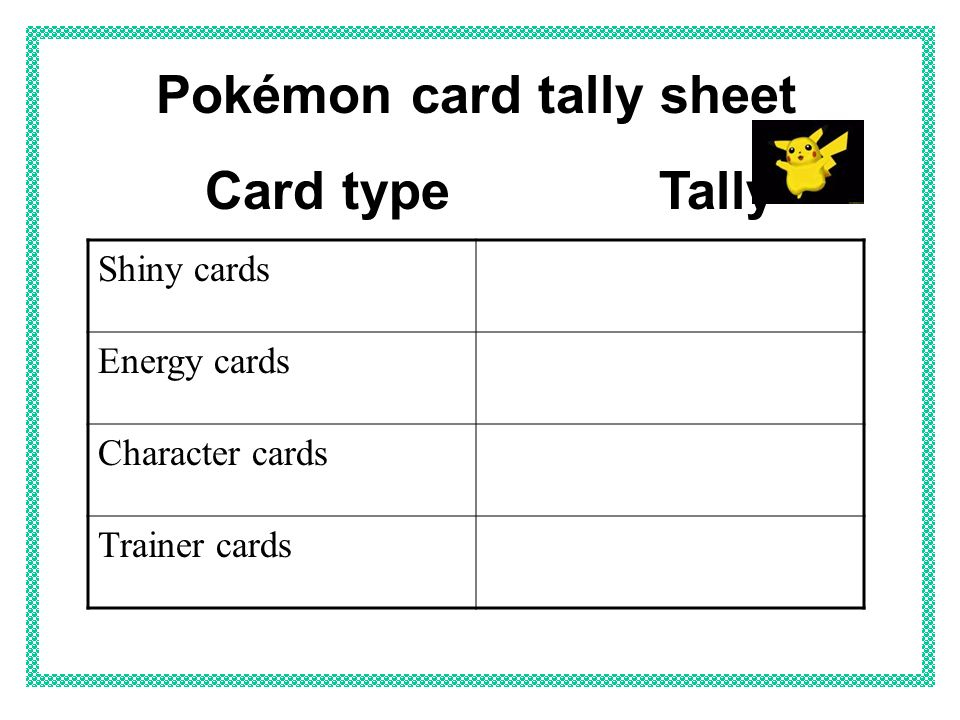 Pokémon card tally sheet