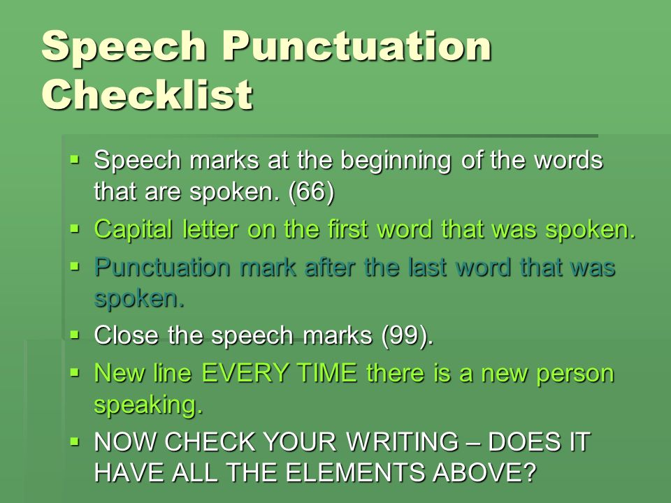 Speech Punctuation Checklist