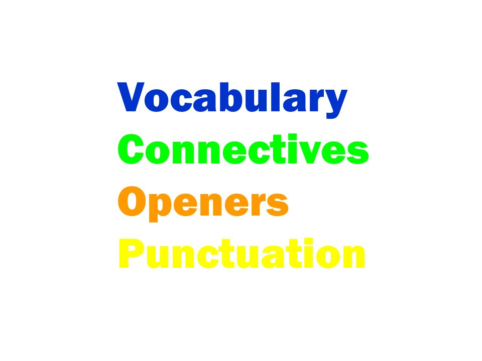 Vocabulary Connectives Openers Punctuation