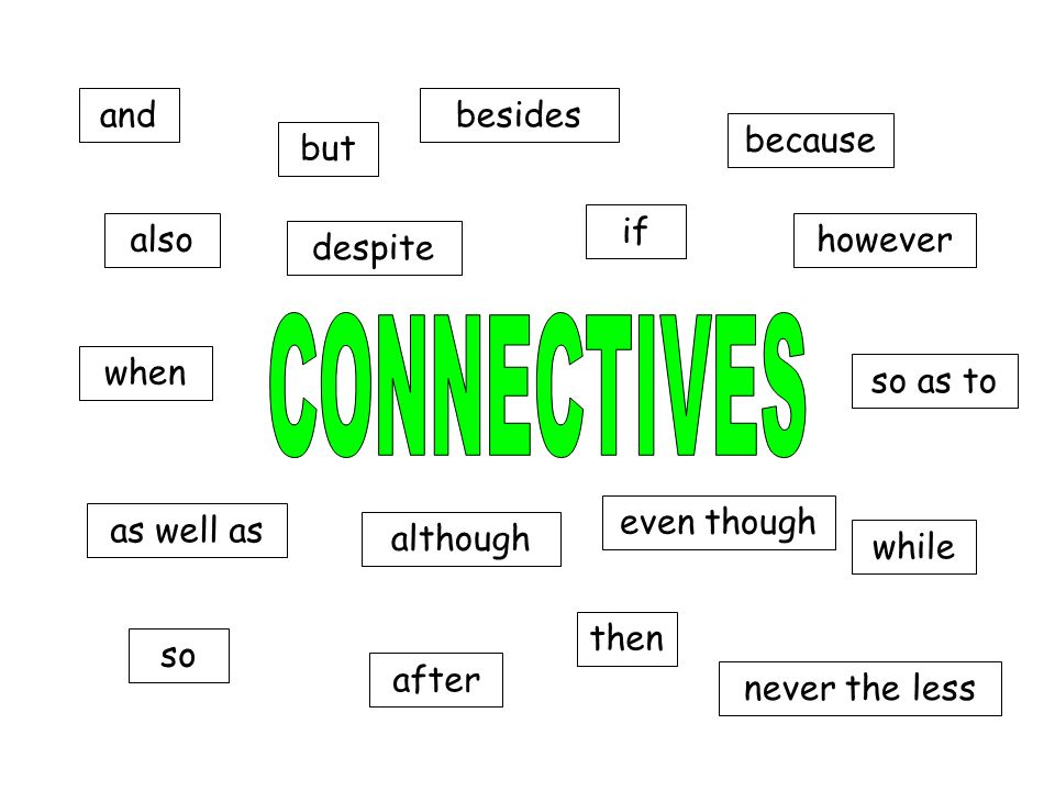 CONNECTIVES and besides because but if also however despite when