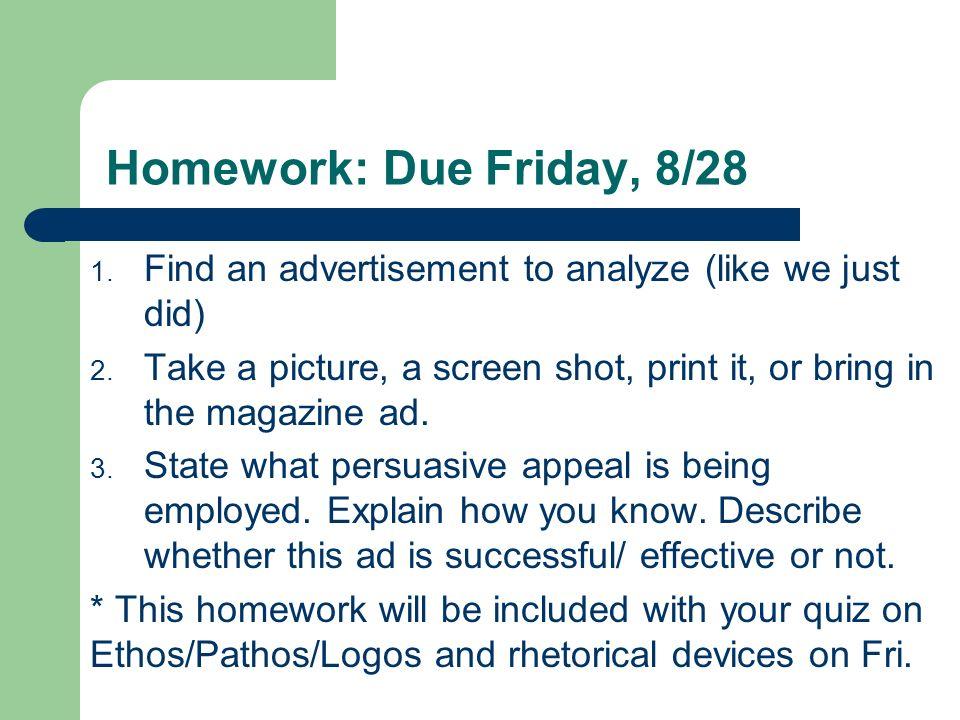 rhetorical analysis of advertisements using ethos pathos and logos