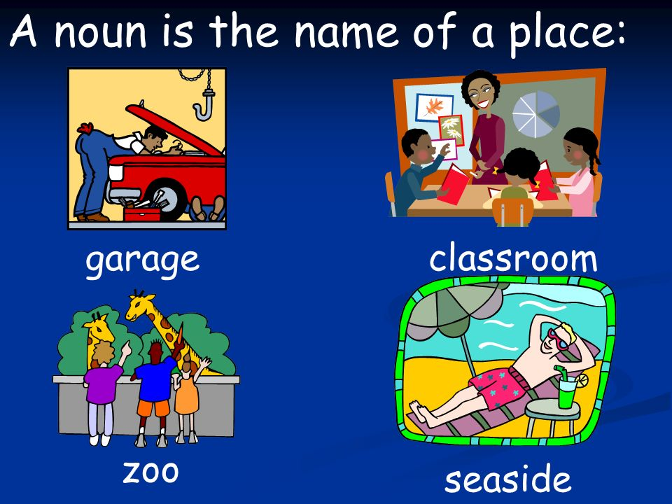 A noun is the name of a place: