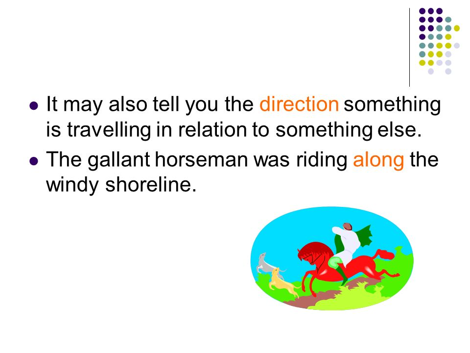 It may also tell you the direction something is travelling in relation to something else.