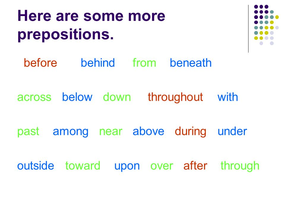 Here are some more prepositions.