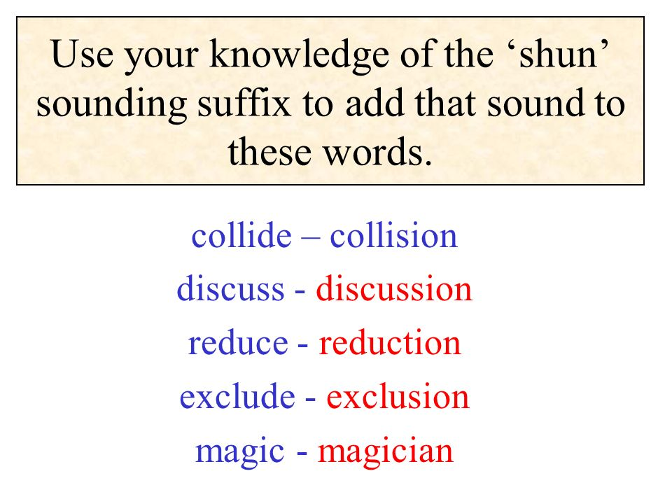 Use your knowledge of the 'shun' sounding suffix to add that sound to these words.