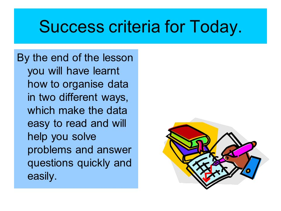 Success criteria for Today.