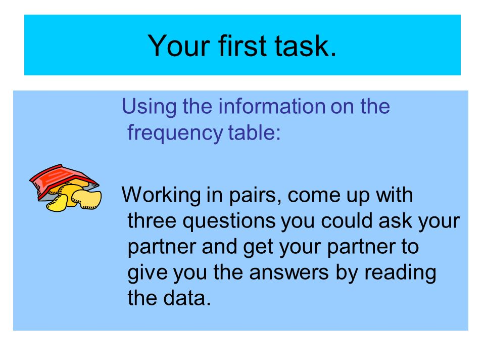 Your first task. Using the information on the frequency table:
