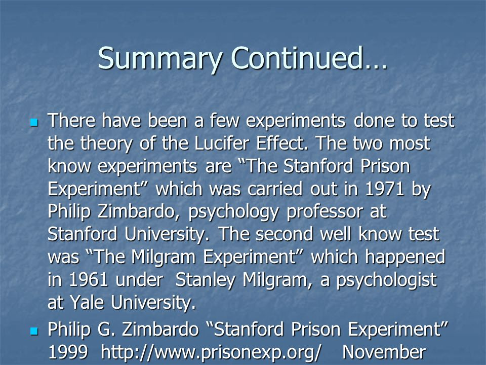 the stanford experiment summary I recently was asked to give a lecture on the stanford prison experiment to an undergraduate course, so i read a bit more on it.