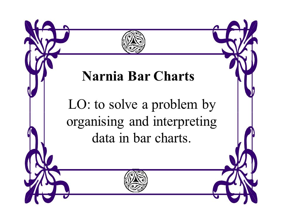 Narnia Bar Charts LO: to solve a problem by organising and interpreting data in bar charts.