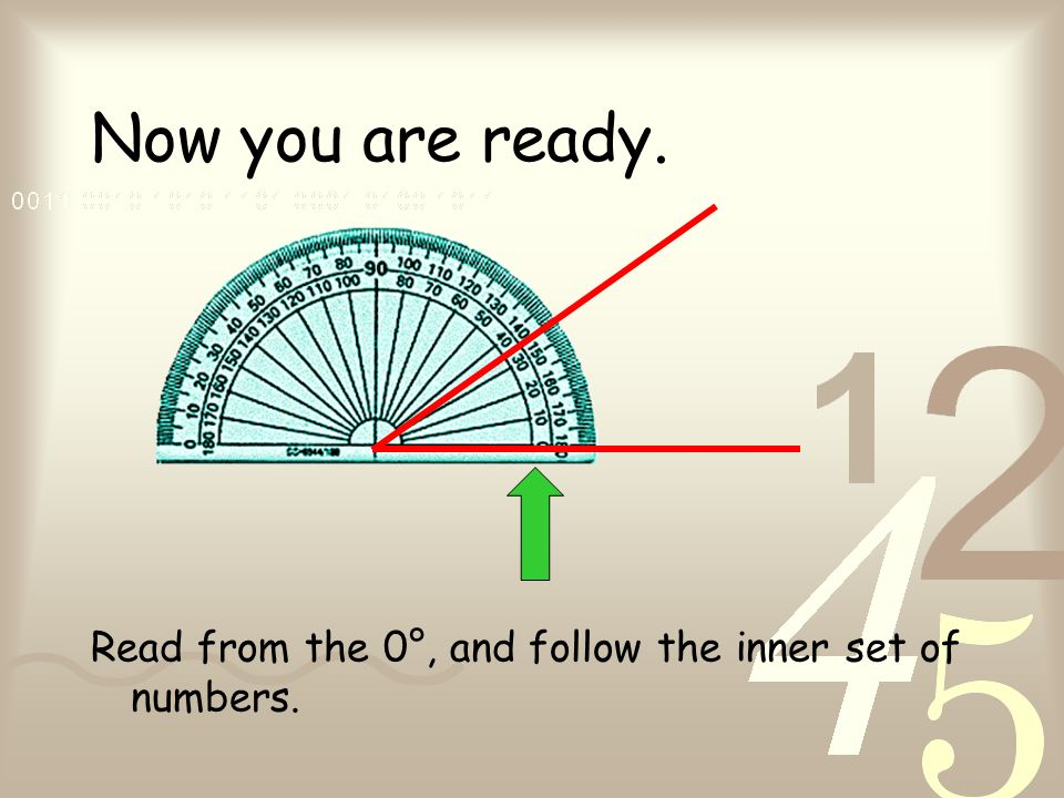 Now you are ready. Read from the 0°, and follow the inner set of numbers.