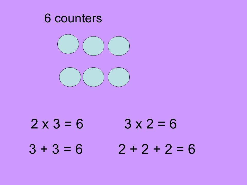 6 counters 2 x 3 = 6 3 x 2 = 6 3 + 3 = 6 2 + 2 + 2 = 6
